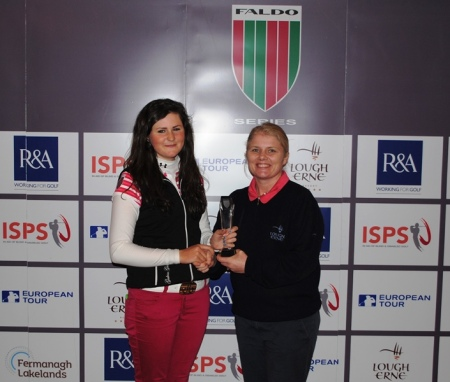Olivia Mehaffey (left) with Lynn McCool, Director of Golf at Lough Erne Resort.
