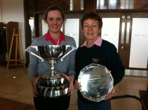 Jessica Carty (left), winner of the Hughes Insurance Ulster Women's Championship with Violet McBride, winner of the Teddy Morrison Trophy