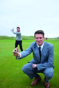 Andrew Spence of Cathedral Eye Clinic, proud sponsors of the North of Ireland Championship 2013 and Patrick McCrudden, North of Ireland winner in 2011 demonstrate their eye for golf as they prepare to tee off for the Championship at Royal Portrush Golf Club.