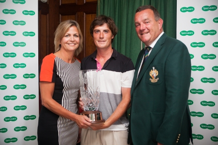 Valerie Penney (Specsavers Ballymena), Dermot McElroy, winner of the North of Ireland Amateur Strokeplay event and Ivan McCappin, Captain Galgorm Castle