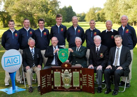 Ivor McCandless (President, Golfing Union of Ireland) presenting Michael McAvoy (Captain, Clandeboye Golf Club) with the Barton Shield after their victory at the GUI All Ireland AIG sponsored Cups&; Shields Finals at Royal Tara Golf Club. In front (from left) Noel Rowland (Captain, Royal Tara Golf Club), Ian Boucher (Vice Captain, Clandeboye Golf Club) and Aidan Connaughton (Consumer Lines Director, AIG Europe). At back (from left) Graeme Laird, Alaistair Kerr, William Russell, Karl Eccles, Colm Murphy, Lee Crawford, Gerry Fyfe (President, Clandeboye Golf Club) and John Walker (Team Captain).