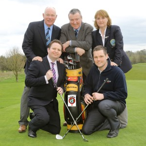 Launching the HOPE03 Golf Classic which takes place at Rockmount on Friday 6th June 2014 are (back row) Paul Banford, Captain, Peter O'Hara, Chair HOPE03 and Janet Douds, Lady Captain, (front row) Danny McQuillan, Extern and Michael Killen, Welcome Organisation.