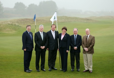 (L-R) Alan Clarke, Chief Executive of the Northern Ireland Tourist Board, First Minister the Rt. Hon. Peter D Robinson, MLA, George O'Grady, Chief Executive of The European Tour, Enterprise, Trade and Investment Minister Arlene Foster, Dr Peter Brown, Captain of Royal County Down Golf Club, and George Deane, Captain of Lough Erne Resort.