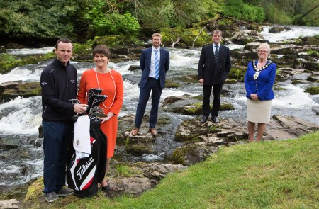 European Tour player and Tournament Ambassador Michael Hoey, Tourism Minister Arlene Foster, European Tour Commercial Director Mark Aspland, Galgorm Castle's Christopher Brooke & Ballymena Lady Mayor Audrey Wales