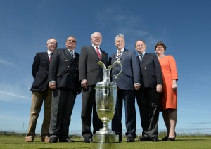 (Left to right) Simon Rankin, Captain Royal Portrush; Peter Unsworth, Chairman of The R&A Championship Committee; Deputy First Minister Martin McGuinness MLA; First Minister the Rt. Hon. Peter D Robinson MLA; Peter Dawson, Chief Executive The R&A; Enterprise, Trade and Investment Minister, Arlene Foster.
