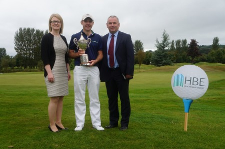 Paula Collins, Hilton Hotel Manager; Adrian Byrne, Managing Director, HBE Risk Management and Colm Moriarty, winner 2014 PGA Ulster Championship