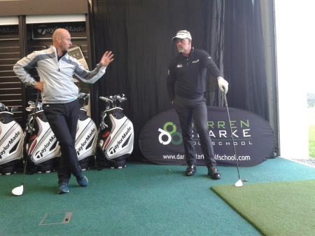 Darren Clarke and TaylorMade representative Adrian Rietveld discuss the new AeroBurner range