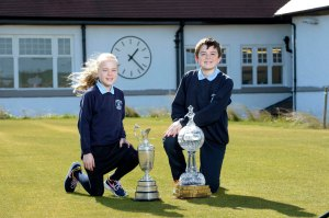 Katie Curran and Daniel Jennings from St Mary's Primary School in Newcastle visited Royal County Down Golf Club to launch the first ever Irish Open Trophy Tour competition