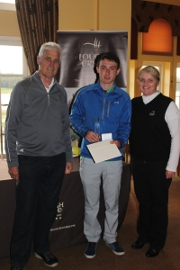 Under 18  and Overall Winner of 2015 Faldo Series Sean Doyle (centre) with Andy Lott (Faldo Series) and Lough Erne's Lynn McCool