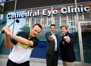 Michael Hoey joins Andrew Spence from Cathedral Eye Clinic and Kevin Stevens from of the Golfing Union of Ireland (Ulster Branch)