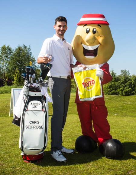 Mr Tayto and European Challenge Tour player Chris Selfridge at the recent NI Open Sponsors' Day at Galgorm Castle Golf Club in Ballymena