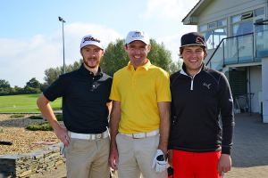 Noel Murray (Massereene GC); Colm Moriarty (Drive Golf Performance) and Neil O'Briain (Old Conna GC) at Dundalk GC