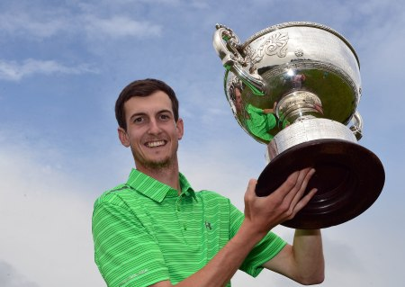 Tiarnan McLarnon (Massereene) with the 2015 AIG Irish Amateur Close Championship trophy after his victory at Tramore Golf Club Picture by Pat Cashman