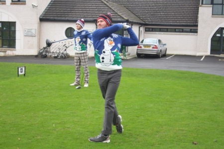 Christmas jumpers were optional attire at the Ulster PGA GP outing at Ballycastle. Noel Murray models a fine snowman design