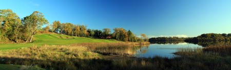 ENNISKILLEN, NORTHERN IRELAND - OCTOBER 20: The approach to the 637 yards par 5, 9th hole 'Halfway House' on the Faldo Championship Course at Lough Erne Resort on October 20, 2010 in Enniskillen, Northern Ireland. (Photo by David Cannon/Getty Images)