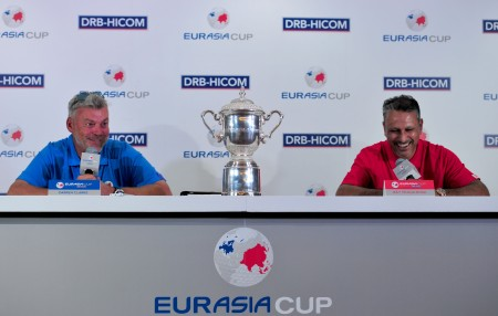 Captains Darren Clarke (left) and Jeev Milkha Singh during a press conference for the EurAsia Cup