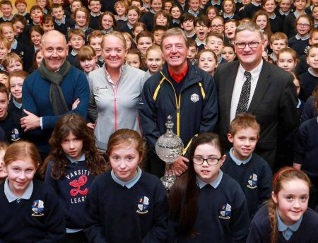 The children of Straffan National School joined (l-r) Brian McIlroy of the Rory Foundation, Antonia Beggs from The European Tour, Dubai Duty Free Golf Ambassador Des Smyth and Tom Walsh of Waterford Crystal to launch the Dubai Duty Free Irish Open Trophy Tour 2016.