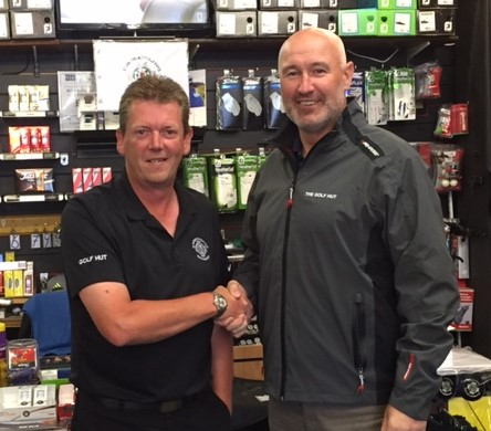 Conor Deegan (right) with Downpatrick GC professional Robbie Hutton