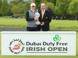 Rory McIlroy with Colm McLoughlin, the Executive Vice Chairman of Dubai Duty Free, after winning the Dubai Duty Free Irish Open Hosted by the Rory Foundation at The K Club
