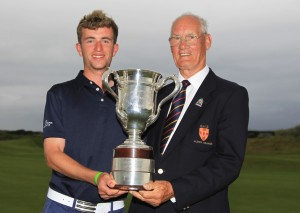 Sean Flanagan (Co. Sligo) winner of the North of Ireland Amateur Open Championship with Eamonn O'Connor (Chairman Ulster Branch GUI) at Portrush Golf Club, Portrush on Friday 15th July 2016. Picture: Thos Caffrey / www.golffile.ie