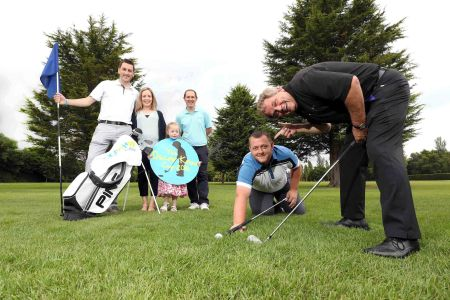 Pictured getting ready for the Oscar Knox Cup at Fortwilliam Golf Club are (L-R) Stephen Knox, Leona Knox, Isobella Knox, Andrew Hollywood of GolfNow, snooker player Mark Allen and sports commentator Adrian Logan.