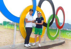 Leona Maguire was presented with the 2016 Mark H McCormack Medal by current world number one and three-time winnner of the medal Lydia Ko ahead of the women's Olympic Golf event at Rio 2016