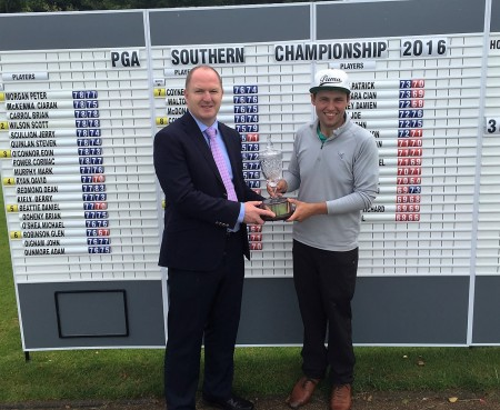 PGA Southern Championship winner, Neil O'Briain with Gavin Hunt, Golf Manager, Powerscourt