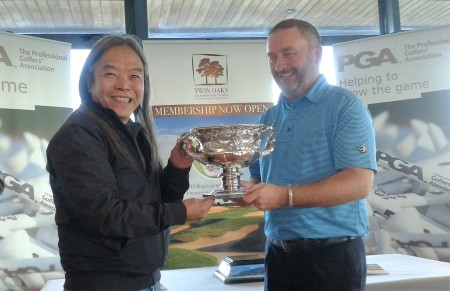 Moyvalley Hotel and Golf Resort director, Vichai Tripipatkul, presents Damien McGrane with the Irish PGA Championship trophy