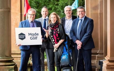 Eimear Callaghan, Tourism NI Golf and Sales Marketing Manager joins Jim Cullen, Belvoir Park Golf Club, Paddy Deane, Malone Golf Club, Greg Bailie, Shandon Park Golf Club, and Colin Adair Royal Belfast Golf Club at the launch of the inaugural Belfast International Parkland Tournament 2017.