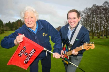 GREEN DAY: Dame Mary Peters and GolfNow's Andrew Hollywood are getting ready to rock and hole at the first ever 'Golf and Guitar' event which will take place at Holywood Golf Club on Friday May 19.